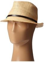 Scala Matte Raffia Fedora with Turquoise Trim Fedora Hats