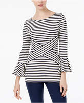 ECI Striped Bell-Sleeve Top