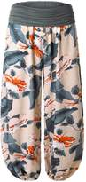MeiC Women's Printed Comfy Chic Lounge Boho Harem Pants Black Floral