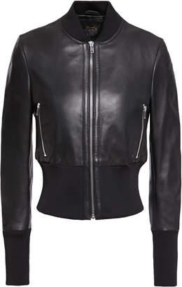 Maje Rib-trimmed Leather Bomber Jacket