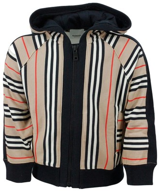 Burberry Sweatshirt With Hood And Zip With Striped Pattern Check