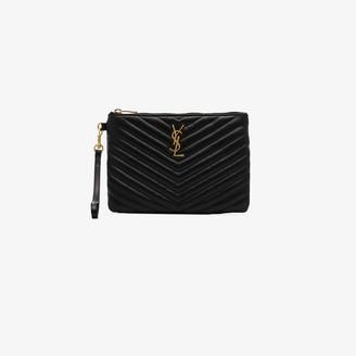 Saint Laurent Black quilted leather purse