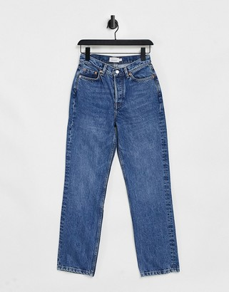 And other stories & Keeper organic cotton straight cropped jeans in krepart blue