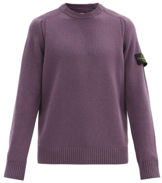Stone Island Logo-patch Ribbed Wool-blend Sweater - Purple