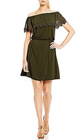 MICHAEL Michael Kors Off-the-Shoulder Lace Trim Overlay Knit Jersey Dress
