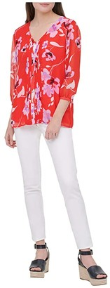 Calvin Klein Printed Long Sleeve Blouse w/ Front Pleats (Watermelon Wisteria Multi) Women's Clothing