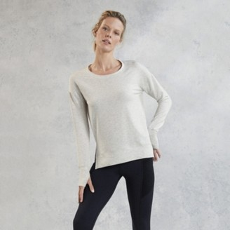 The White Company Side Split Crew-Neck Sweater, Cloud, Extra Small