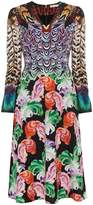 Mary Katrantzou Pheasant Printed Silk V Neck Dress