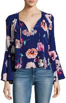 Yumi Kim Wanderlust Silk Floral-Print Top, Blue Pattern