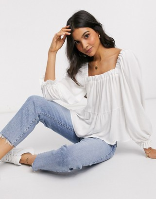 ASOS DESIGN long sleeve square neck top in ivory-No Color