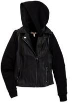 Vintage Havana Faux Leather Vested Jacket with Fleece Hood (Big Girls)