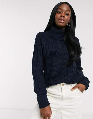 Brave Soul anthorn roll neck cable knit jumper in navy
