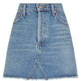 A Gold E Agolde Frayed Denim Mini Skirt