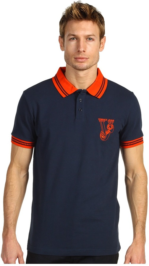Versace Pique Cotton Polo (Blue/Orange) - Apparel