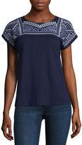ST. JOHN'S BAY St. John's Bay Short Sleeve Crew Neck T-Shirt-Womens Petites