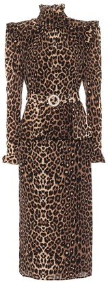 Alessandra Rich Leopard-print silk midi dress