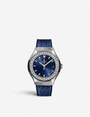 Hublot 581.NX.7170.LR.1104 Classic Fusion diamond, titanium and leather watch