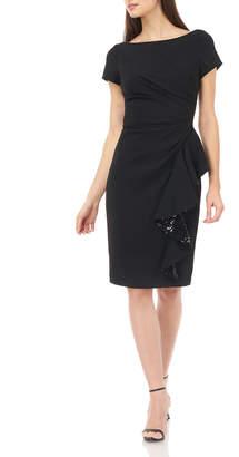 Carmen Marc Valvo Cap-Sleeve Stretch Crepe Sheath Dress w/ Side Ruffle