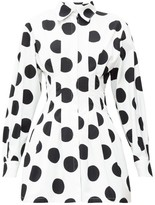 Carolina Herrera Pleated Polka-dot Twill Mini Dress - Womens - White Black