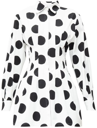Carolina Herrera Pleated Polka-dot Twill Mini Dress - White Black
