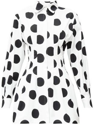Carolina Herrera Pleated Polka-dot Twill Mini Dress - Womens - White Black