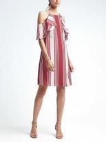 Banana Republic Stripe Ruffle Cold-Shoulder Dress