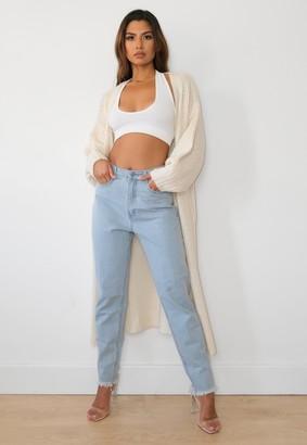 Missguided Petite Cream Knit Balloon Sleeve Maxi Cardigan