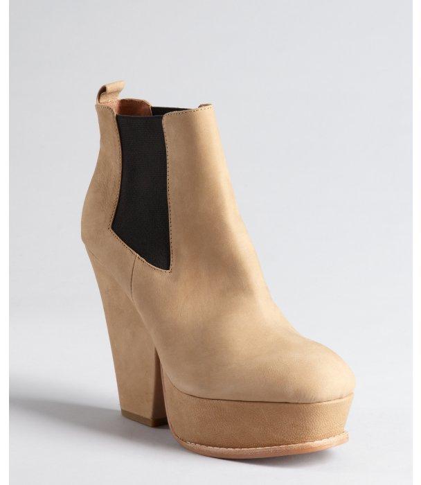Matiko light brown leather 'Milan' platform ankle boots