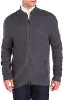 belford Honeycomb Knit Zip-Up Wool Cardigan