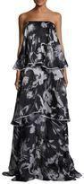 Sachin + Babi Jackie Silk Strapless Tiered Gown