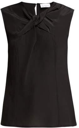 Raey Knot Front Silk Top - Womens - Black