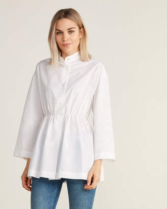Hache White Long Sleeve Cinched Waist Blouse