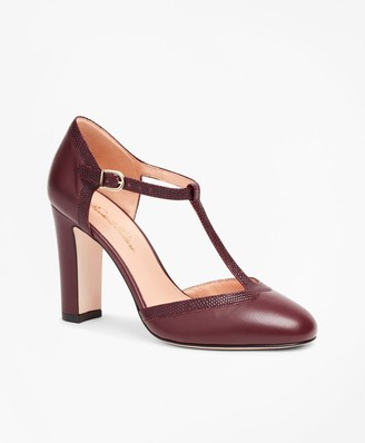 Brooks Brothers Leather T-Strap Pumps