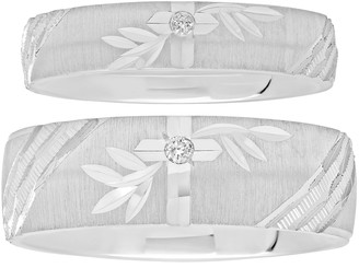 Sterling Silver Diamond Accent His & Hers Wedding Ring Set