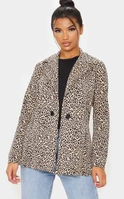 PrettyLittleThing Brown Leopard Boyfriend Blazer