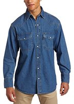 Wolverine Key Apparel Men's Long Sleeve Enzyme Washed Western Snap Denim Shirt