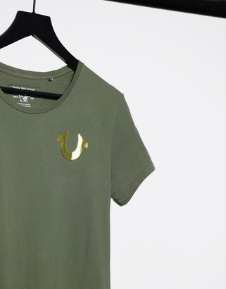 True Religion World Tour logo back t-shirt in militant green and gold