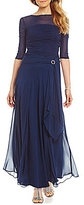 Sangria Shirred Illusion Shirred Gown