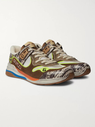 Gucci Ultrapace Distressed Suede, Mesh And Snake-Effect Leather Sneakers