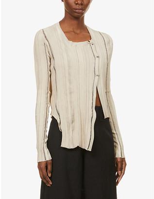 Serienumerica Asymmetrical cotton cardigan