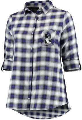 Unbranded Women's Plus Size Concepts Sport Purple/Black Northwestern Wildcats Forge Rayon Flannel Long Sleeve Button-Up Shirt