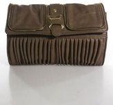 Big Buddha Taupe Pleated Zipper Accent Gold Hardware Clutch Handbag