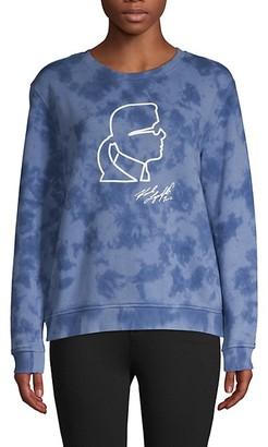 Karl Lagerfeld Paris Graphic Tie-Dyed Stretch-Cotton Sweatshirt