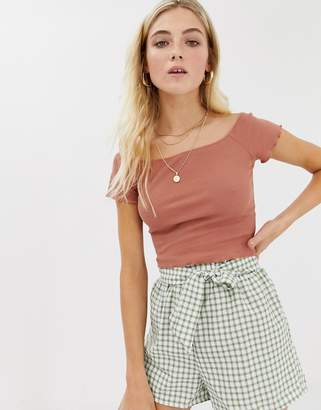 Glamorous bardot crop top in shirred fabric