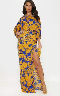 PrettyLittleThing Cobalt Tropical Print Batwing Sleeve Split Leg Maxi Dress