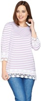 Denim & Co. Stripe 3/4 Sleeve Knit Top with Lace Trim