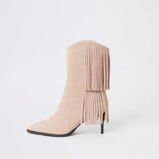 River Island Beige suede tassel mid heeled boots