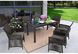 Bay Isle Home Zayas Backyard Steel Frame 7 Pieces Dining Set with Cushions Bay Isle Home Color: Chocolate