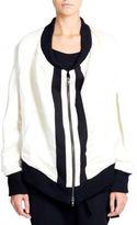 Ann Demeulemeester Shiny Linen-Blend Zip Jacket
