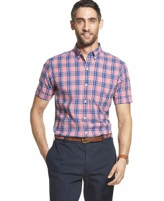 Izod Men's Saltwater Dockside Button Down Short Sleeve Plaid Shirt